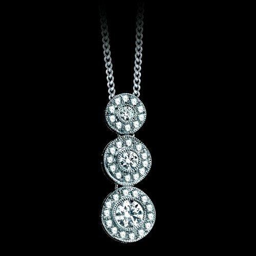 Natural 0.25 CTW Three Diamond Drop Pendant in 18K