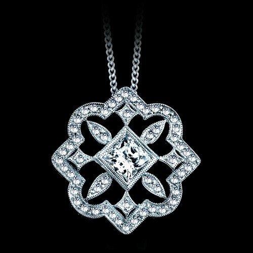 Natural 0.60 CTW Diamond Flower Pendant in 18K White
