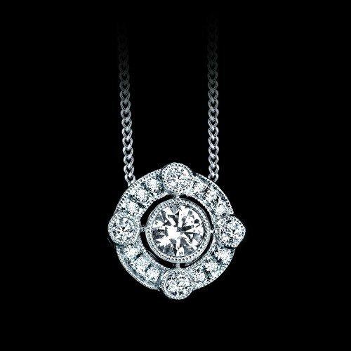 Natural 0.47 CTW Orante Diamond Solitaire Pendant in