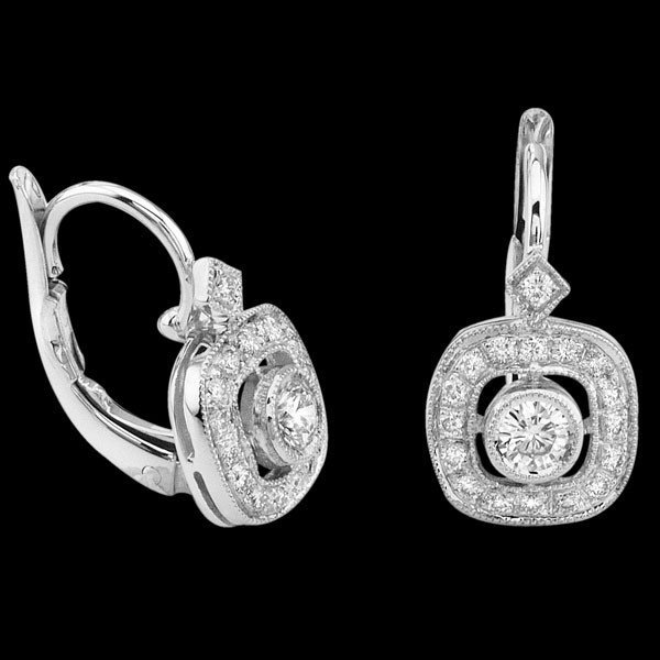 Natural 0.37 CTW Square Diamond Solitaire Earrings in