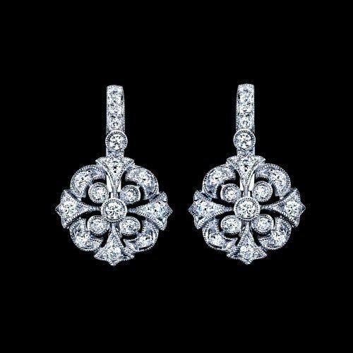 Natural 0.52 CTW Diamond Earrings in 18K White Gold