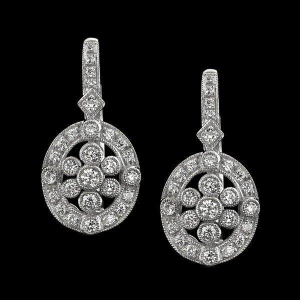 Natural 0.54 CTW Diamond Earrings in 18K White Gold