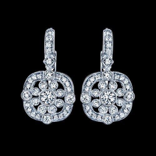 Natural 0.69 CTW Diamond Earrings in 18K White Gold