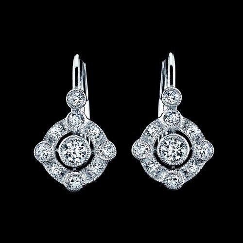 Natural .5 CTW  Diamond Earrings in 18K White Gold