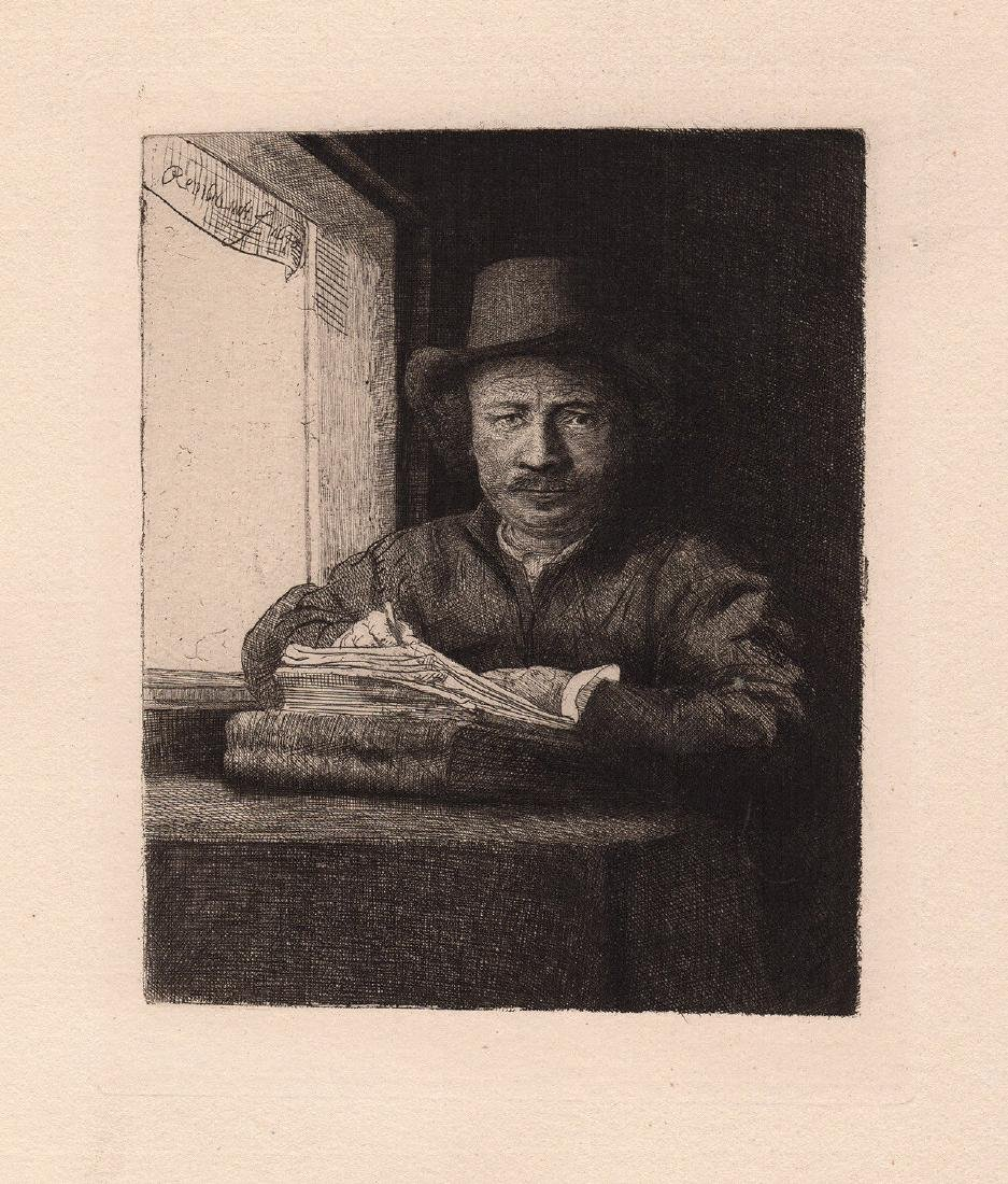 1800s  1800s Rembrandt Etching Self Portrait Drawing at
