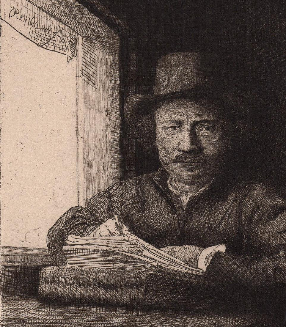 1800s  1800s Rembrandt Etching Self Portrait Drawing at - 2
