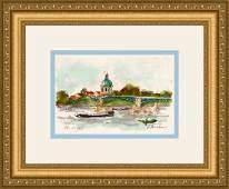 Huchet Signed Le Pont Bleu a Toulouse Lithograph Framed