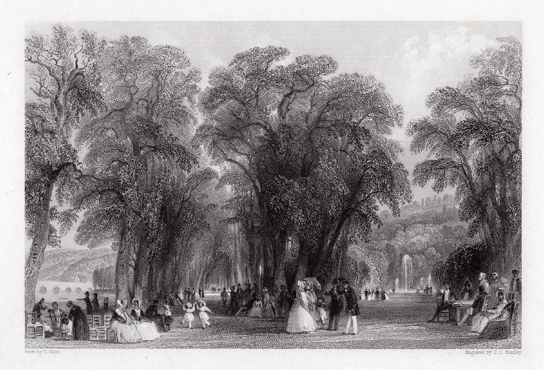 Thomas Allom  The Park at St. Cloud engraving