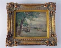 EMILE DELOBRE Original Oil Painting Romantic Paris