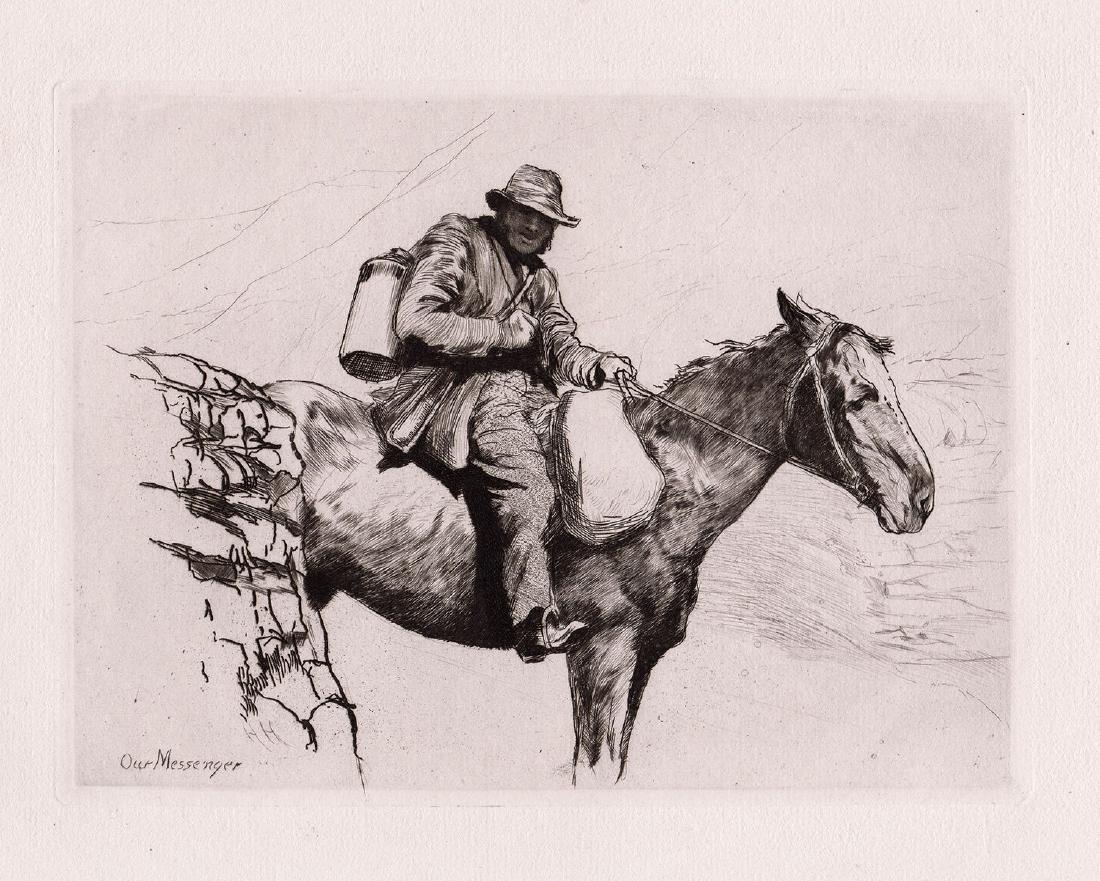1880 Hubert Herkomer The Messenger Etching - 2