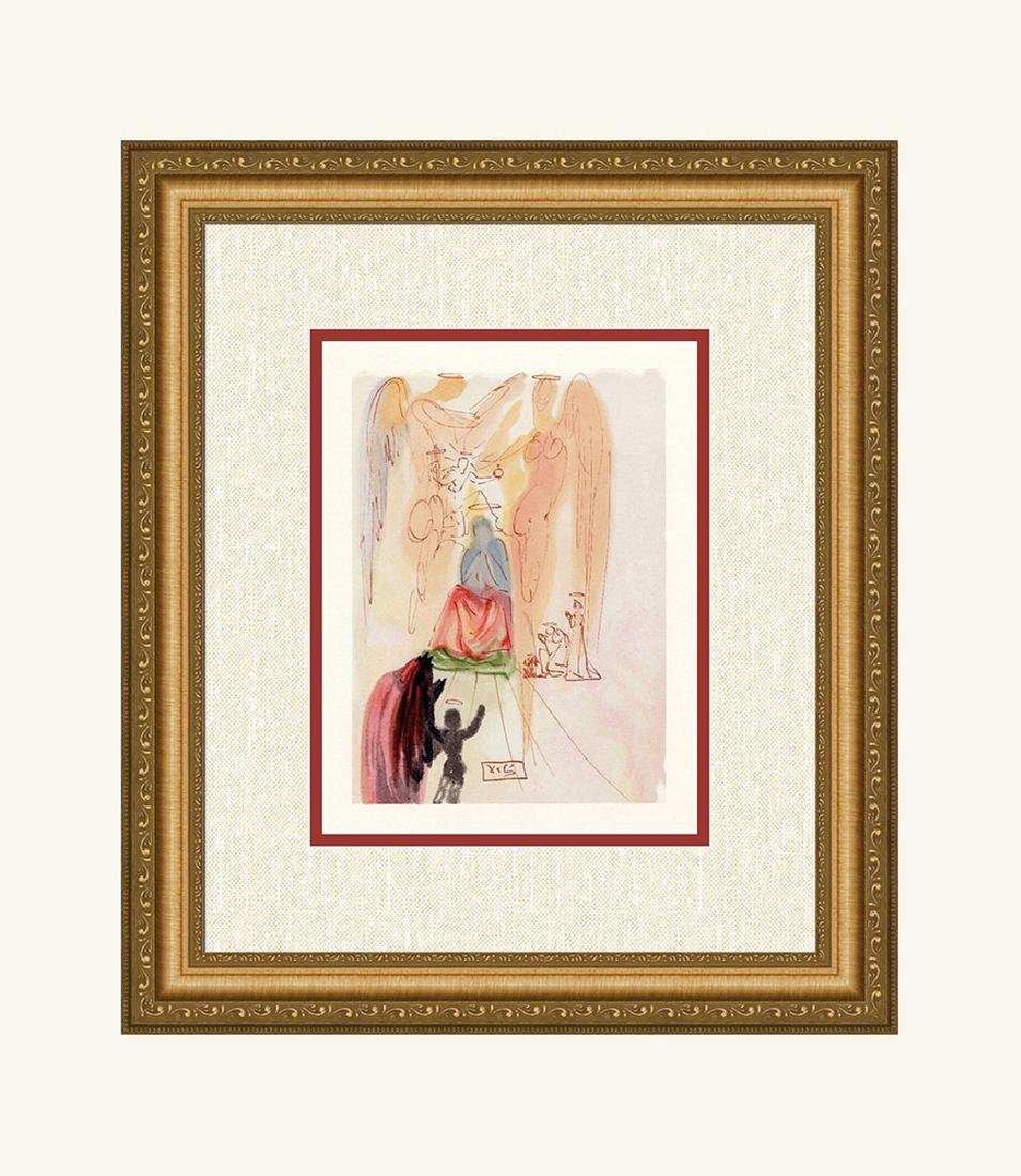 Dali  1960 Woodcut Signed Framed Christ and Virgin