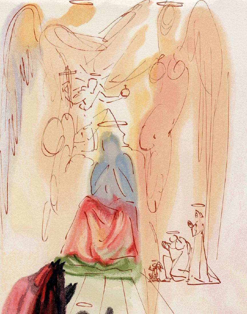 Dali  1960 Woodcut Signed Framed Christ and Virgin - 4