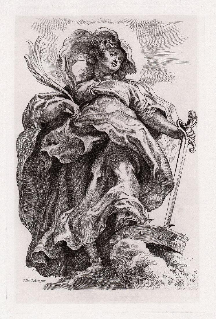 Rubens Engraving St Catherine in the Clouds Durand - 2