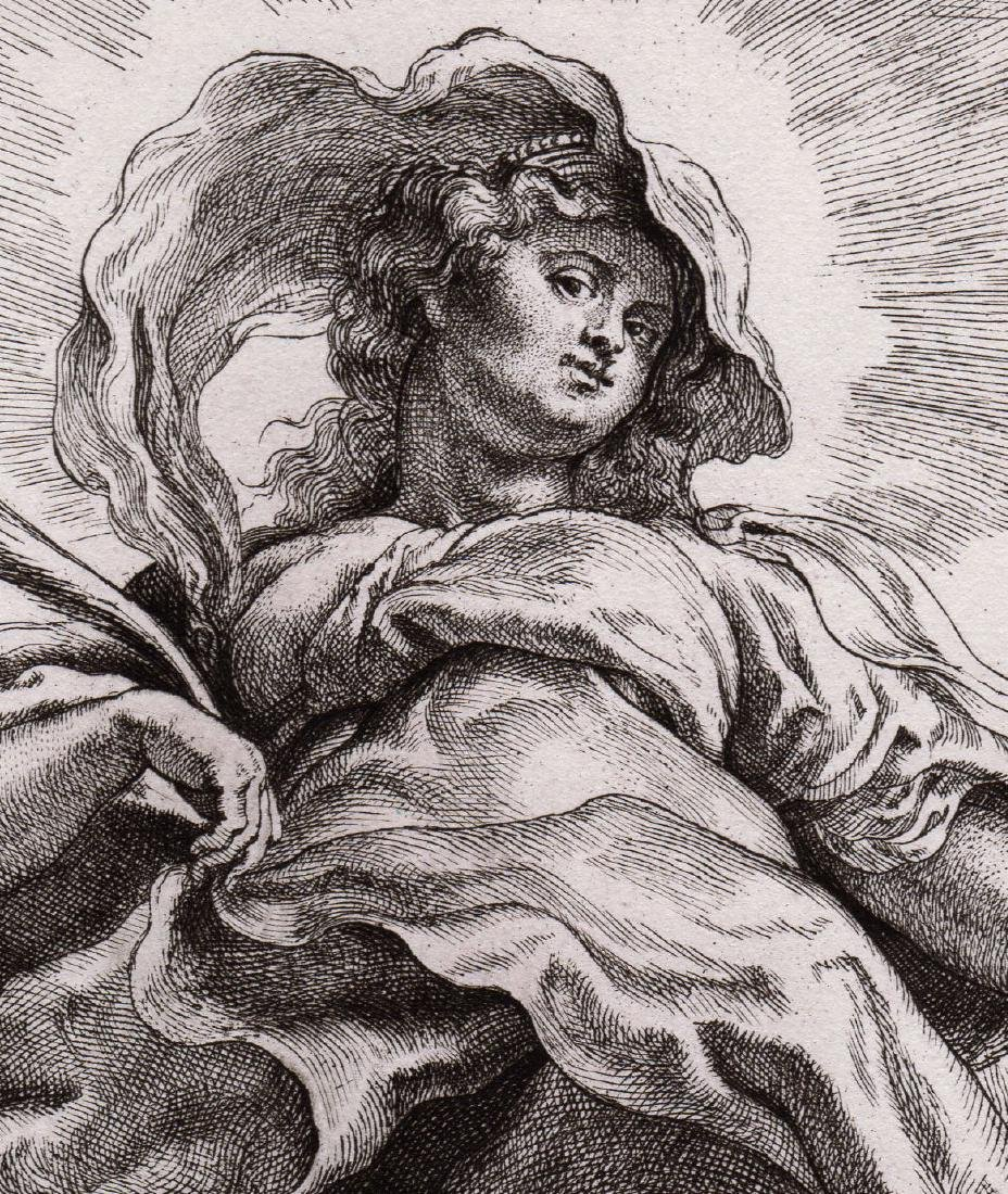 Rubens Engraving St Catherine in the Clouds Durand - 3