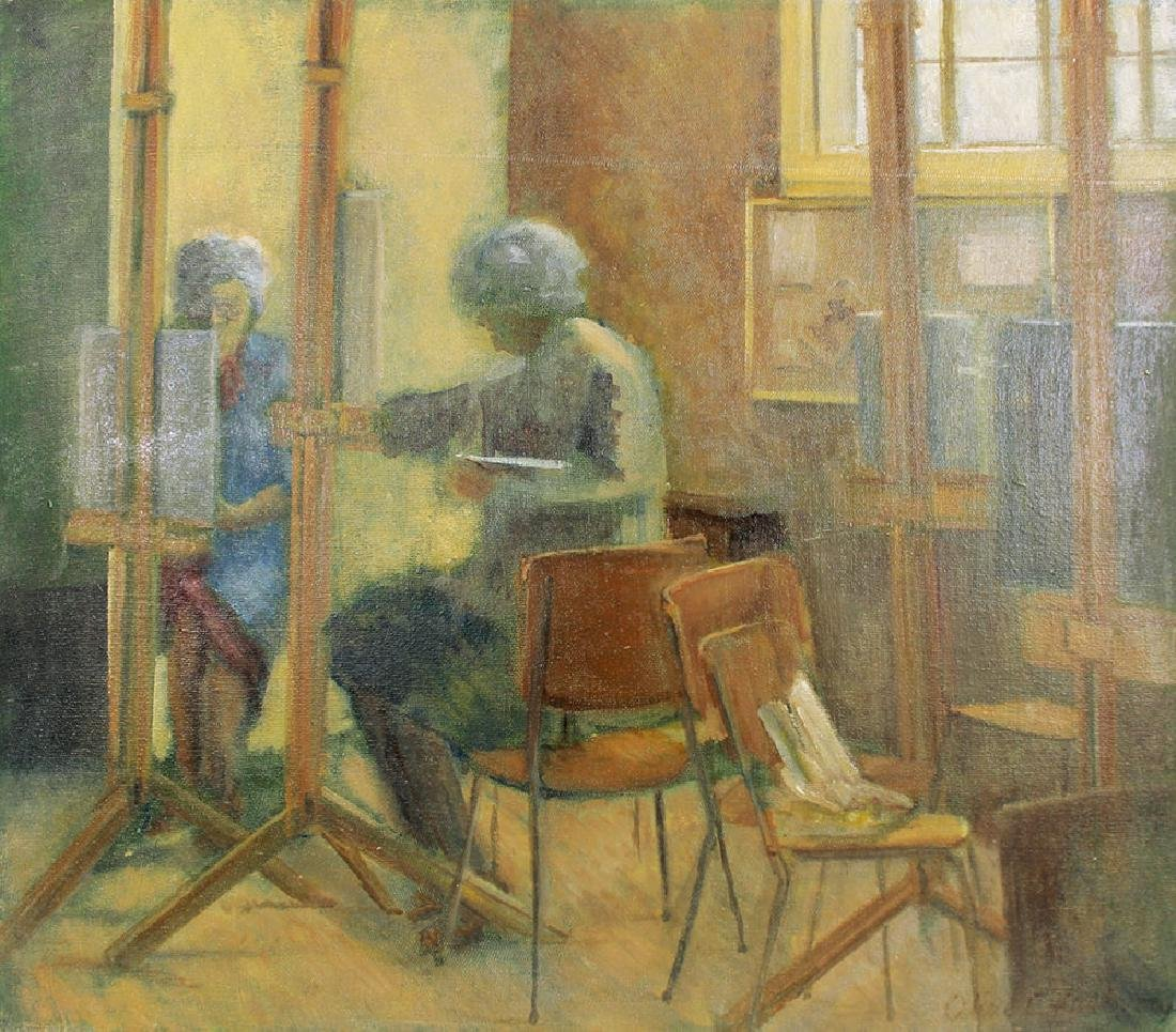 Olive Edenbrow Oil Board The Old Art Studio England - 2