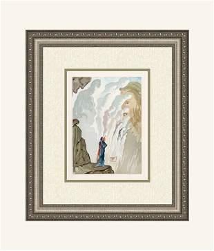 Salvador Dali 1960 Woodcut Signed Framed Divine Comedy