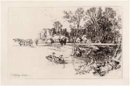 1882 Seymour Haden Cowdray Castle Original Etching