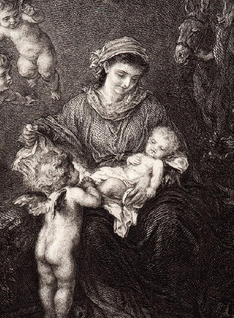 Ludwig Knaus Holy Family 1878 etching - 2