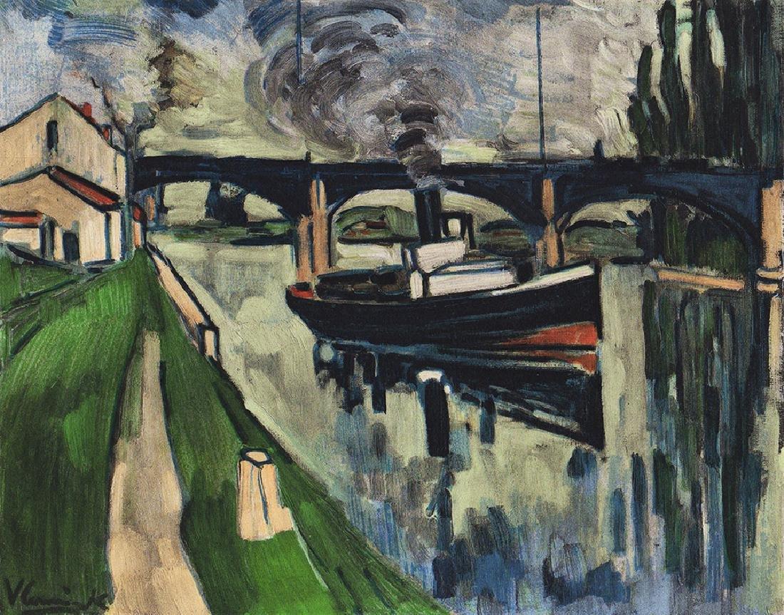 Maurice de Vlaminck Seine with Boats Lithograph Framed
