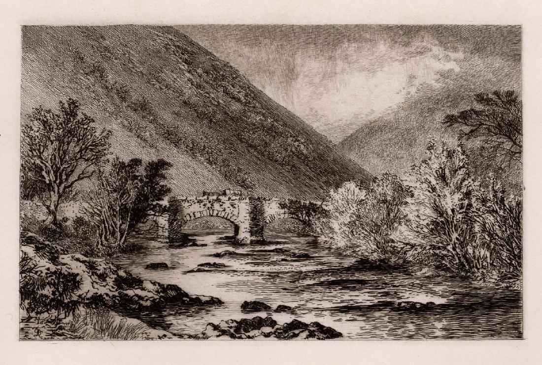 Alfred Dawson Fingle Bridge, Dartmoor 1889 etching