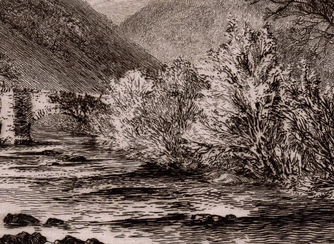 Alfred Dawson Fingle Bridge, Dartmoor 1889 etching - 2