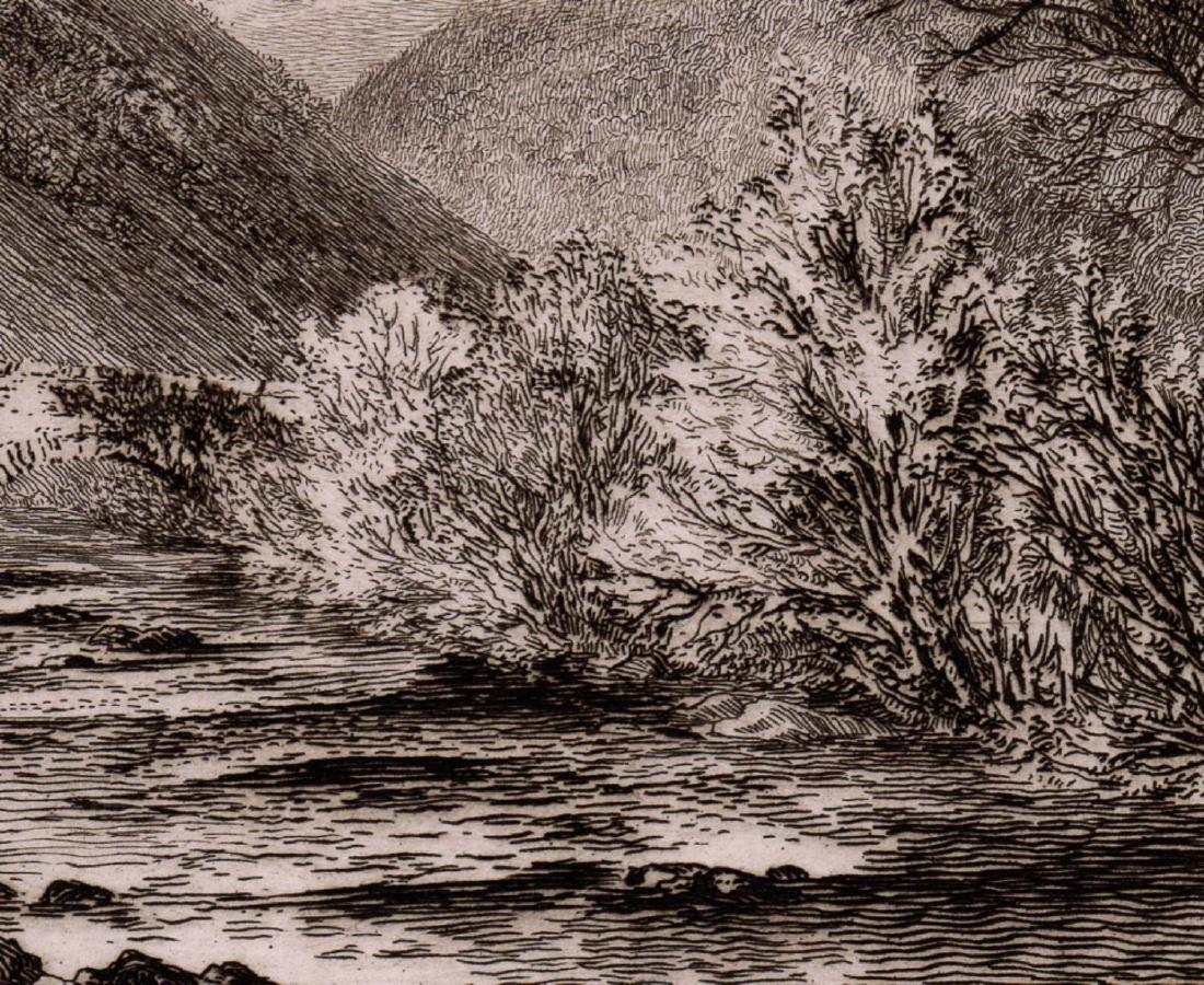 Alfred Dawson Fingle Bridge, Dartmoor 1889 etching - 3