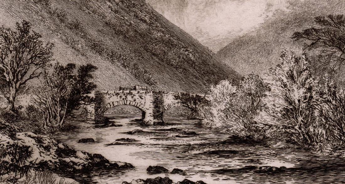 Alfred Dawson Fingle Bridge, Dartmoor 1889 etching - 4
