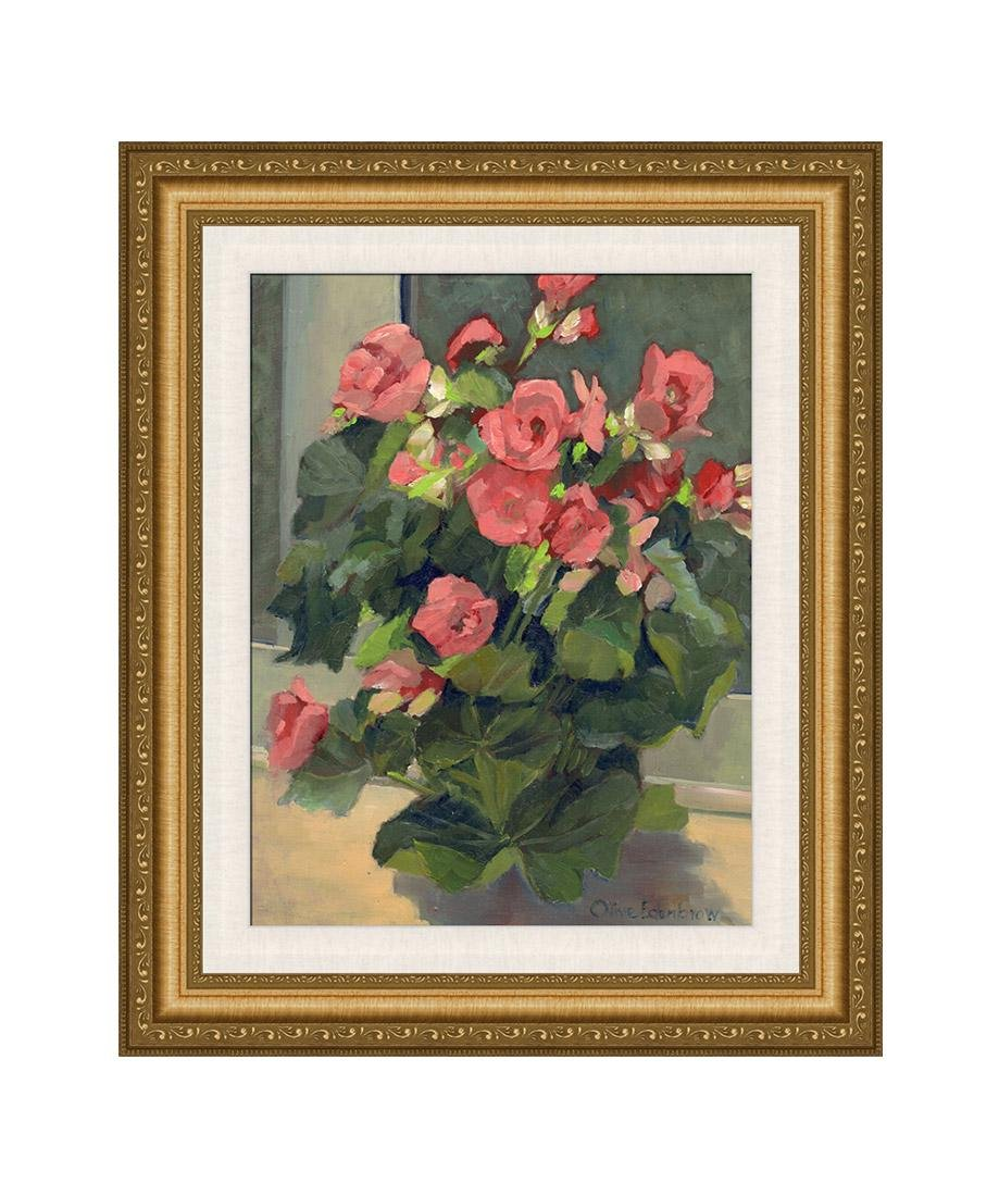 1985 Olive Edenbrow Bouquet of Pink Roses Painting