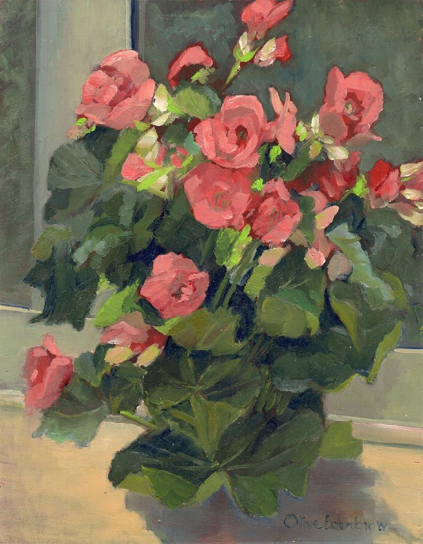 1985 Olive Edenbrow Bouquet of Pink Roses Painting - 2