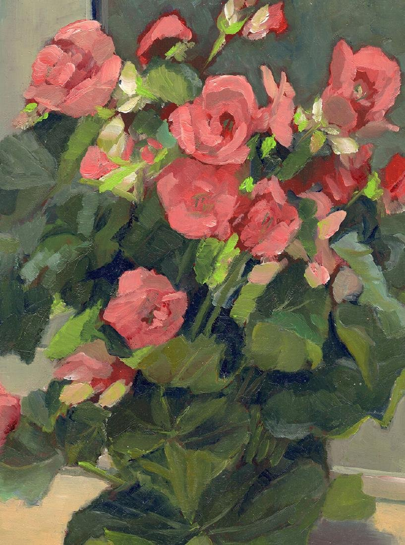 1985 Olive Edenbrow Bouquet of Pink Roses Painting - 3