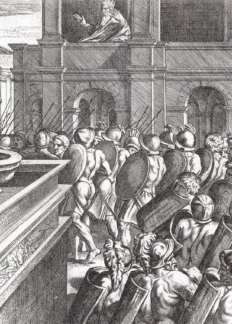 Raphael 1649 Engraving Vatican David and Bathsheba - 2