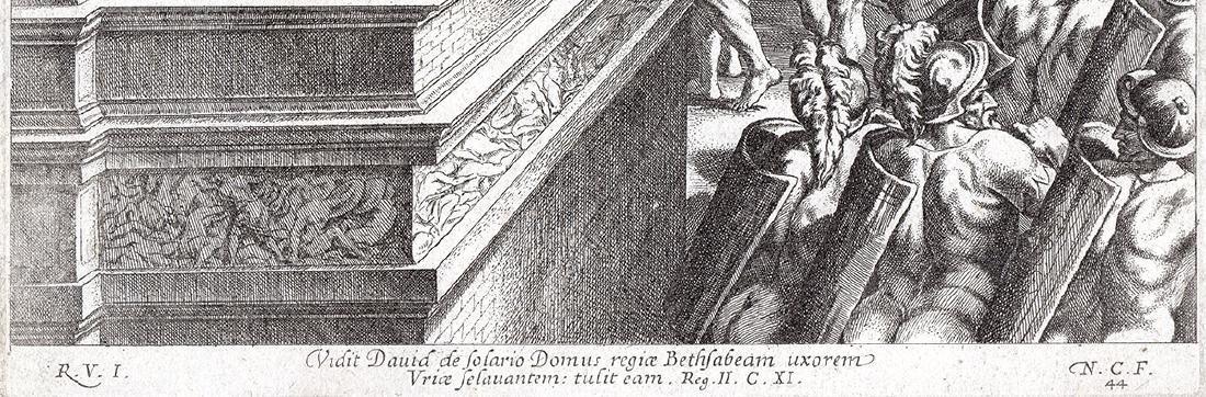 Raphael 1649 Engraving Vatican David and Bathsheba - 3