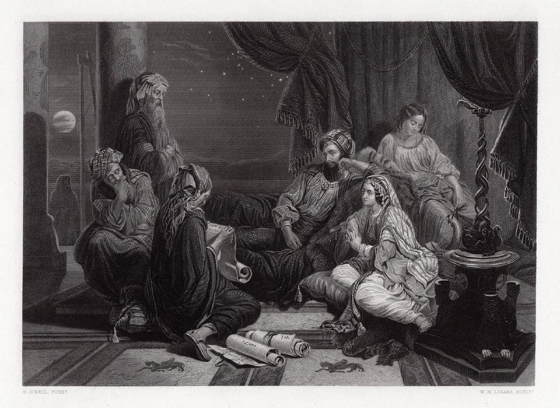 Henry Nelson Ahasuerus engraving signed 1867