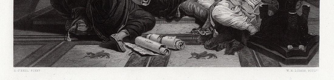 Henry Nelson Ahasuerus engraving signed 1867 - 2