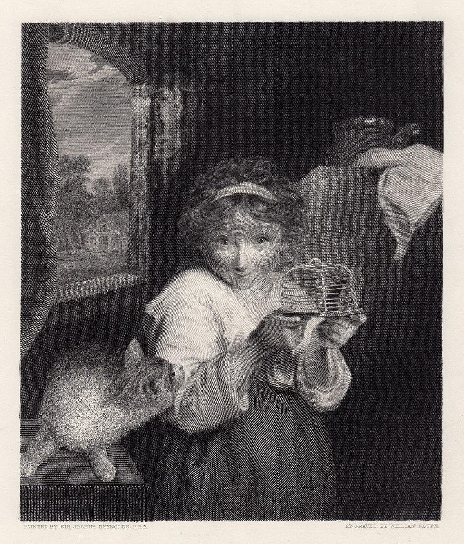 Sir Joshua Reynolds 1883 engraving The Mousetrap signed