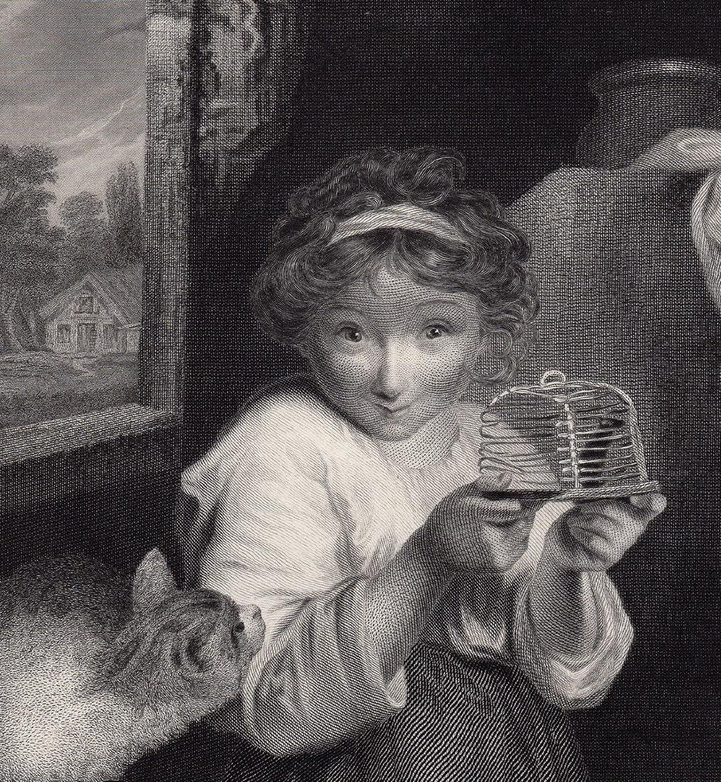 Sir Joshua Reynolds 1883 engraving The Mousetrap signed - 3