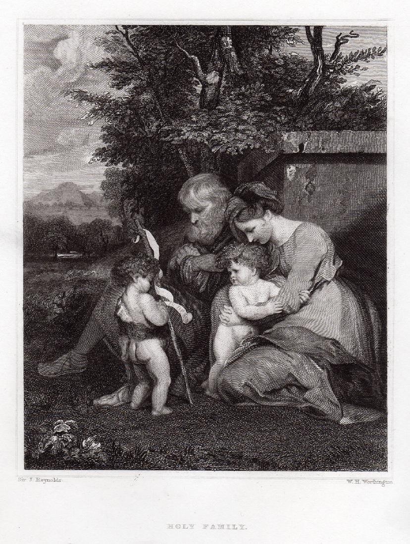 Sir Joshua Reynolds Holy Family engraving signed