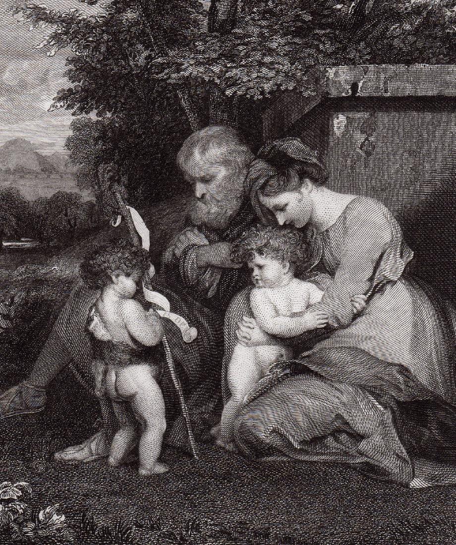 Sir Joshua Reynolds Holy Family engraving signed - 2