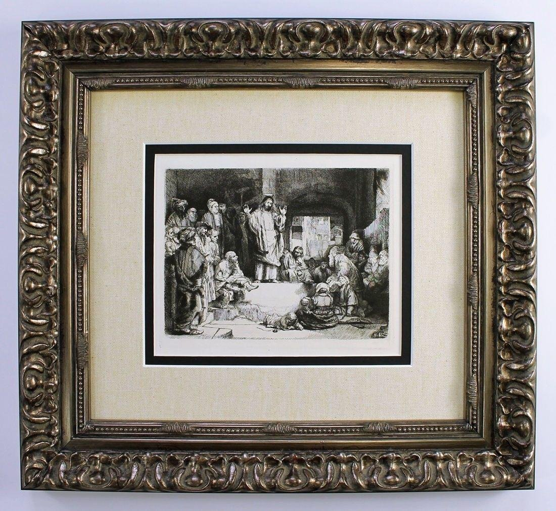 Rembrandt Christ Preaching 1800's Etching
