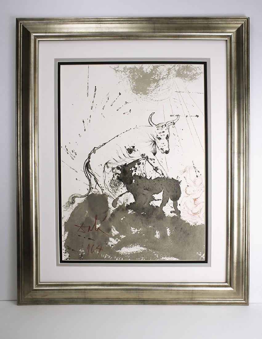 Salvador Dali 1967 Original Lithograph Ox and Lion