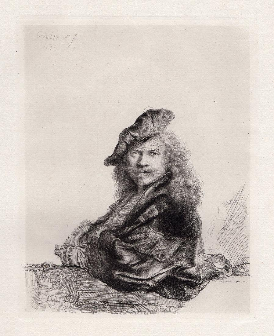 C. 1880 Rembrandt Rjin Rembrandt Leaning on a Stone