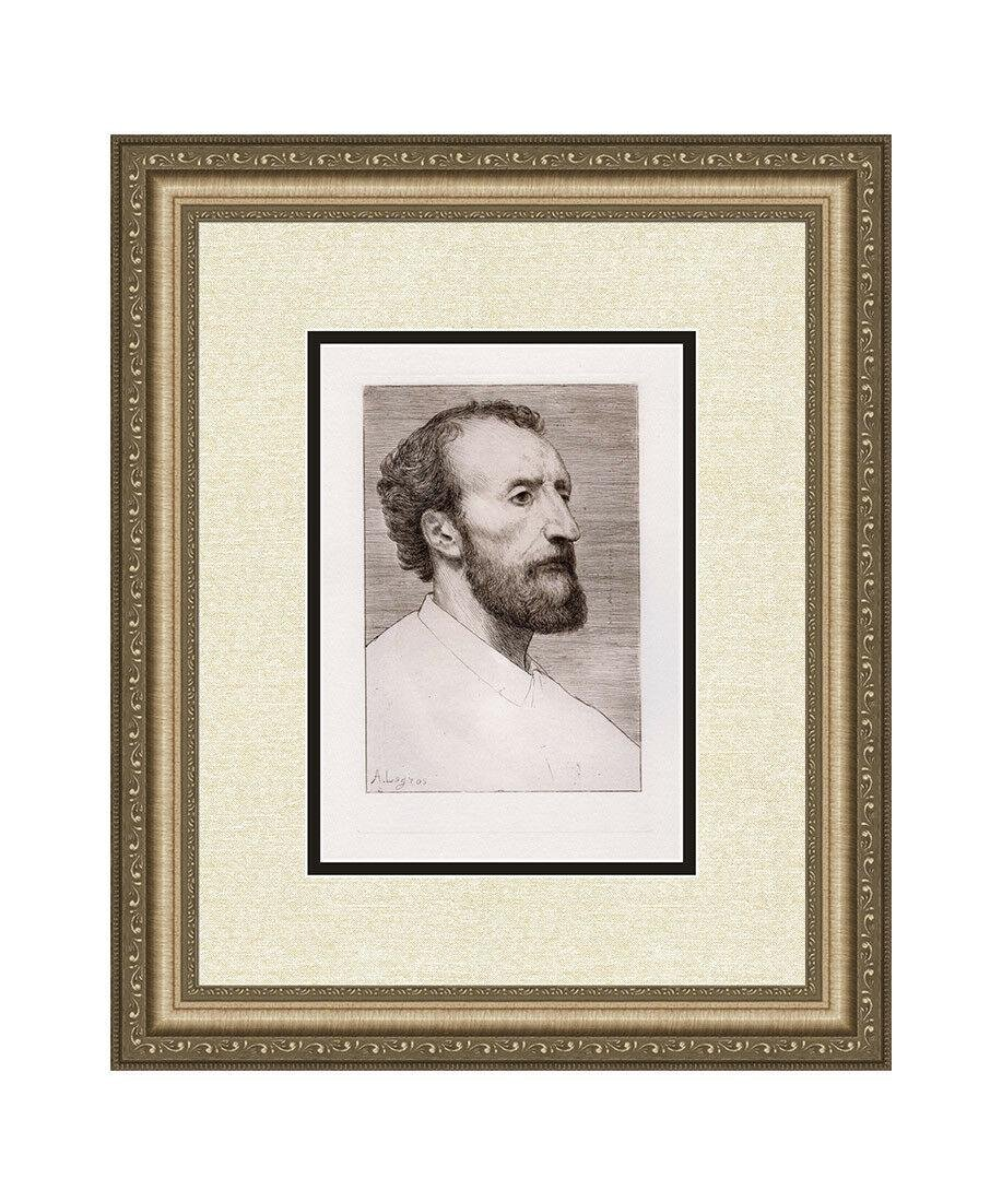 Alphonse Legros 1877 etching Jules Dalou signed