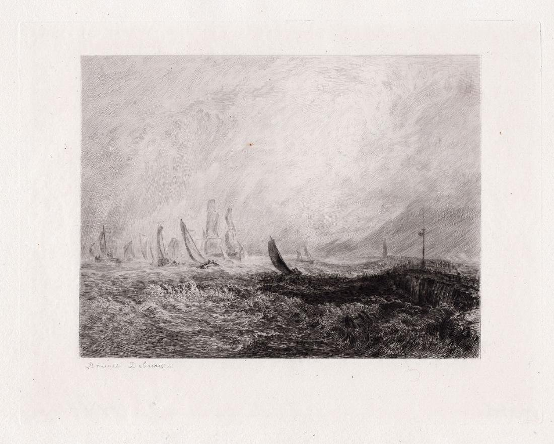 JMW Turner 1875 etching Port Ruysdael signed