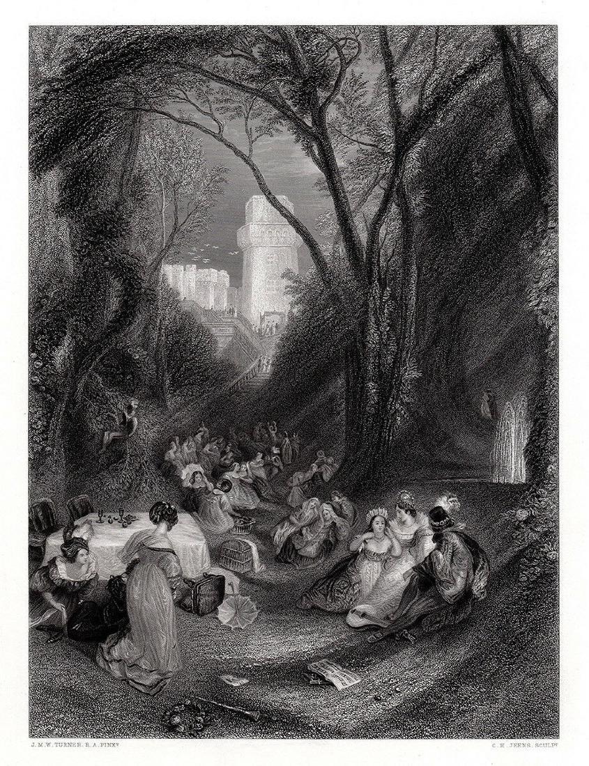 JMW Turner 1862 engraving The Birdcage signed