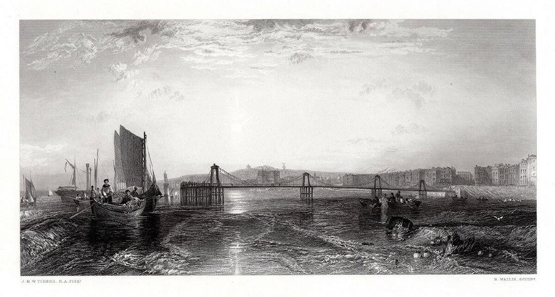 JMW Turner The Chain Pier, Brighton engraving signed