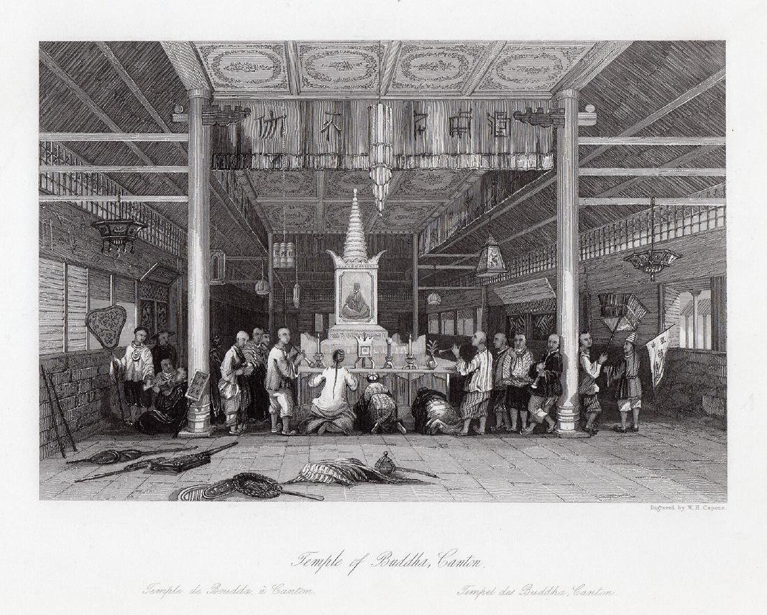 Thomas Allom 1843 engraving Temple of Buddha Canton