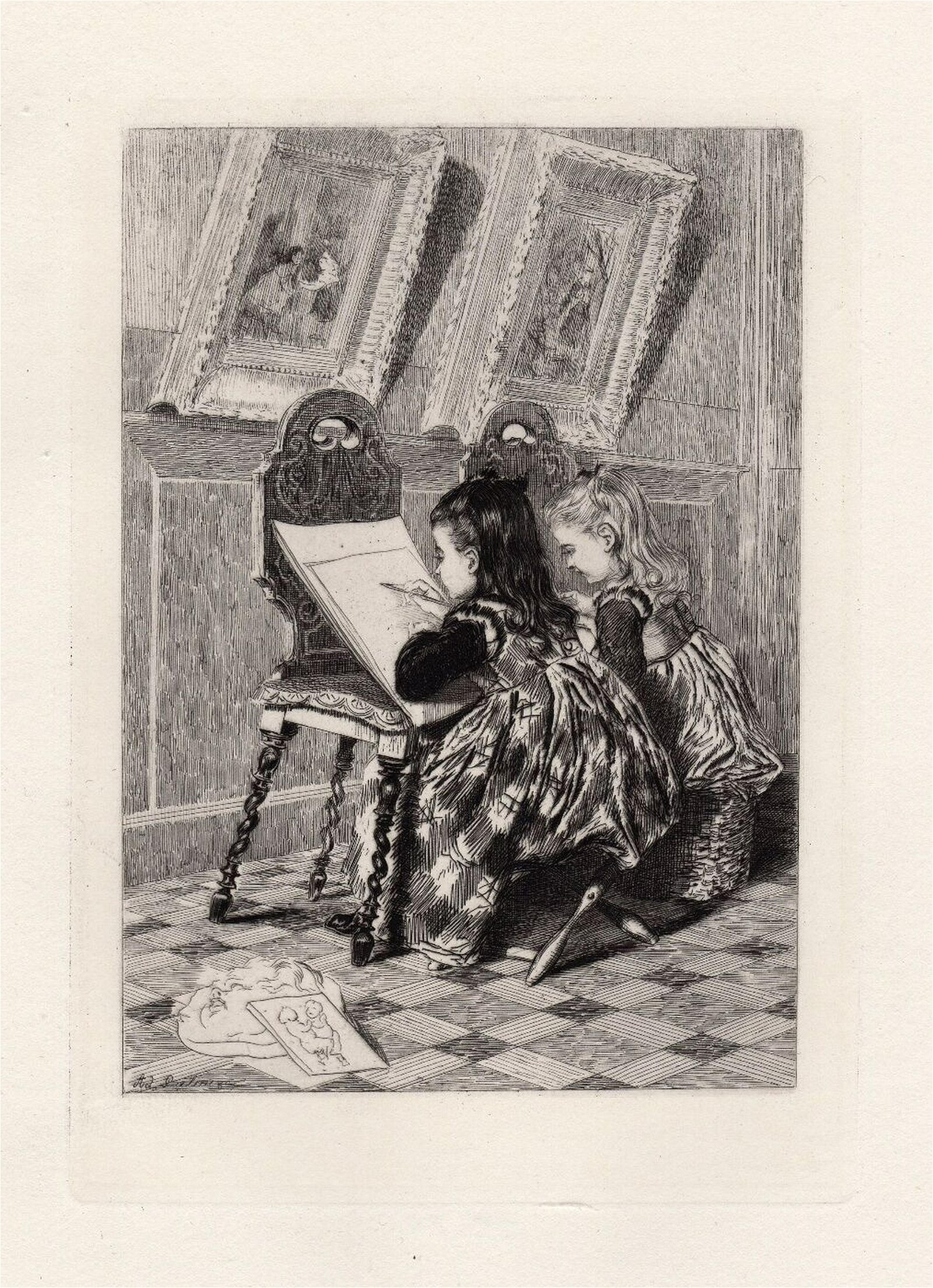 Adolphe Lalauze The Drawing Lesson 1875 etching