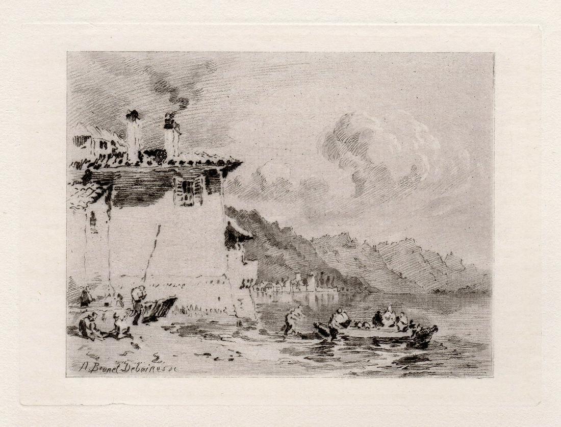 JMW Turner 1877 etching Coastal Landscape signed
