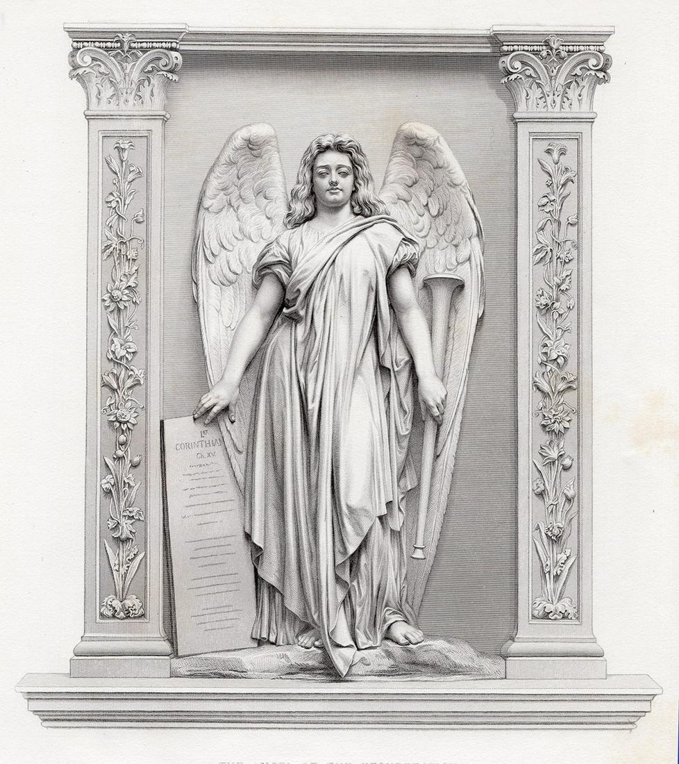John Action 1878 engraving Resurrection signed