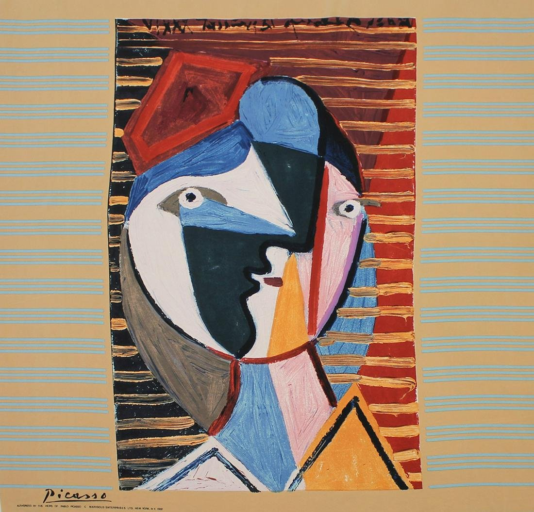 Pablo Picasso Authorized Silk Scarf Abstract Woman